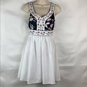 Nick and Mo white cotton embroidered dress